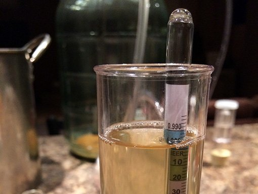a hydrometer is floating in hard cider that reads 0.996
