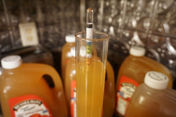 a hydrometer floating in fresh apple cider